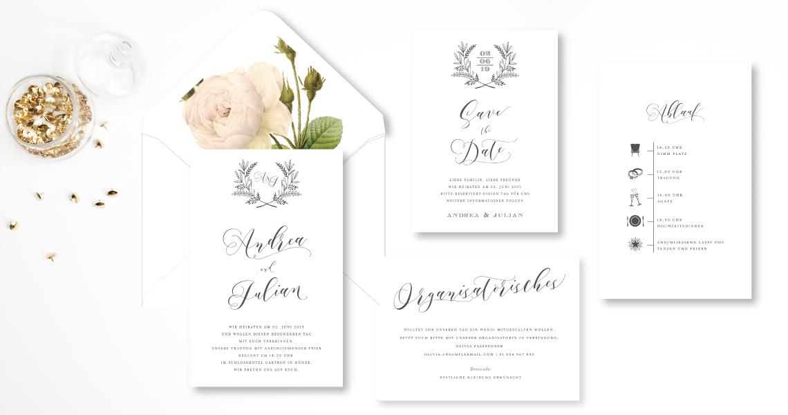 buettenpapier Hochzeitseinladung Boho elegant edel