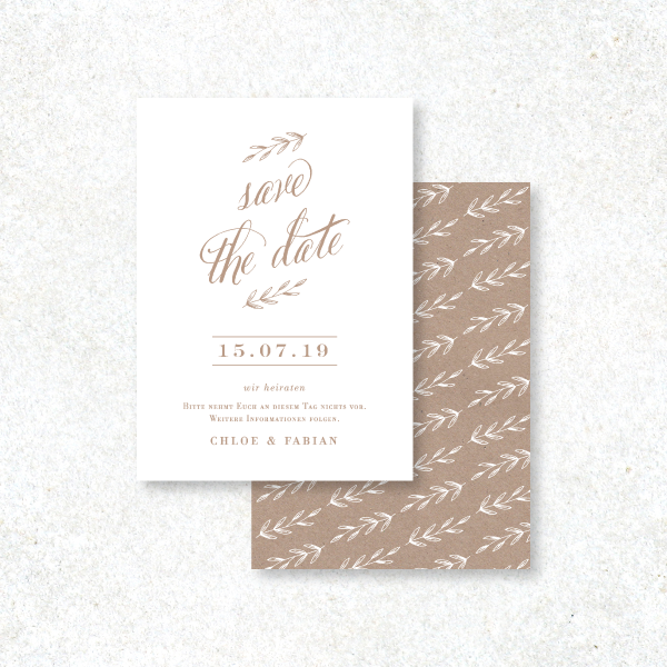 CHIC FOLIAGE SAVE THE DATE KARTE
