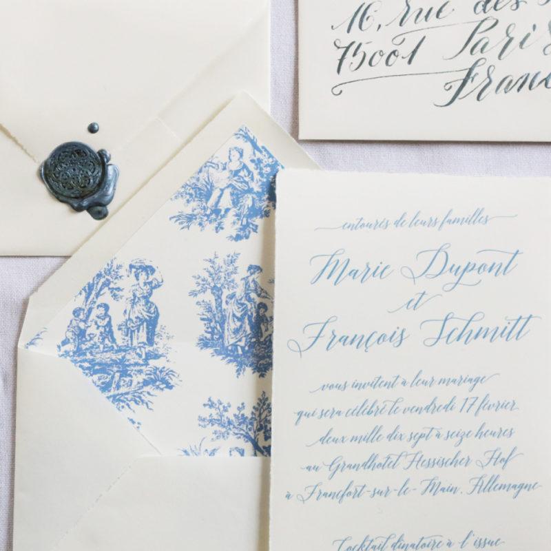 Individuelle Hochzeitseinladung büttenpapier