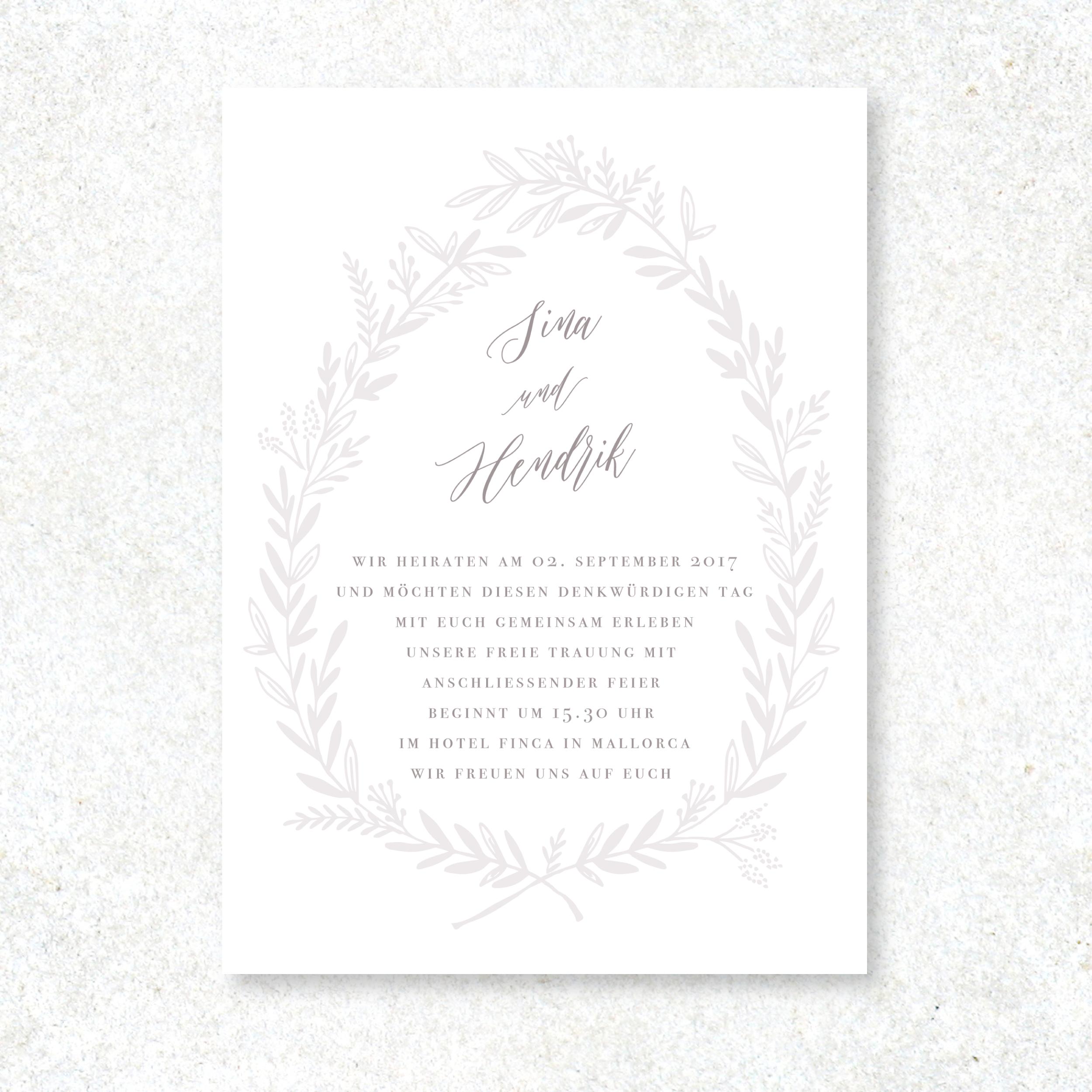 Grande Kranz Hochzeitseinladung