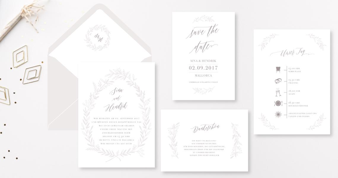 Boho Kranz Buettenpapier Hochzeitseinladung