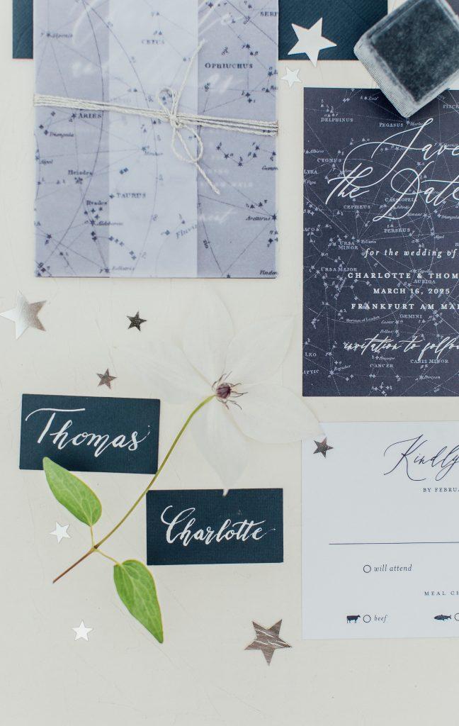 Hochzeitseinladung galaxy under the stars