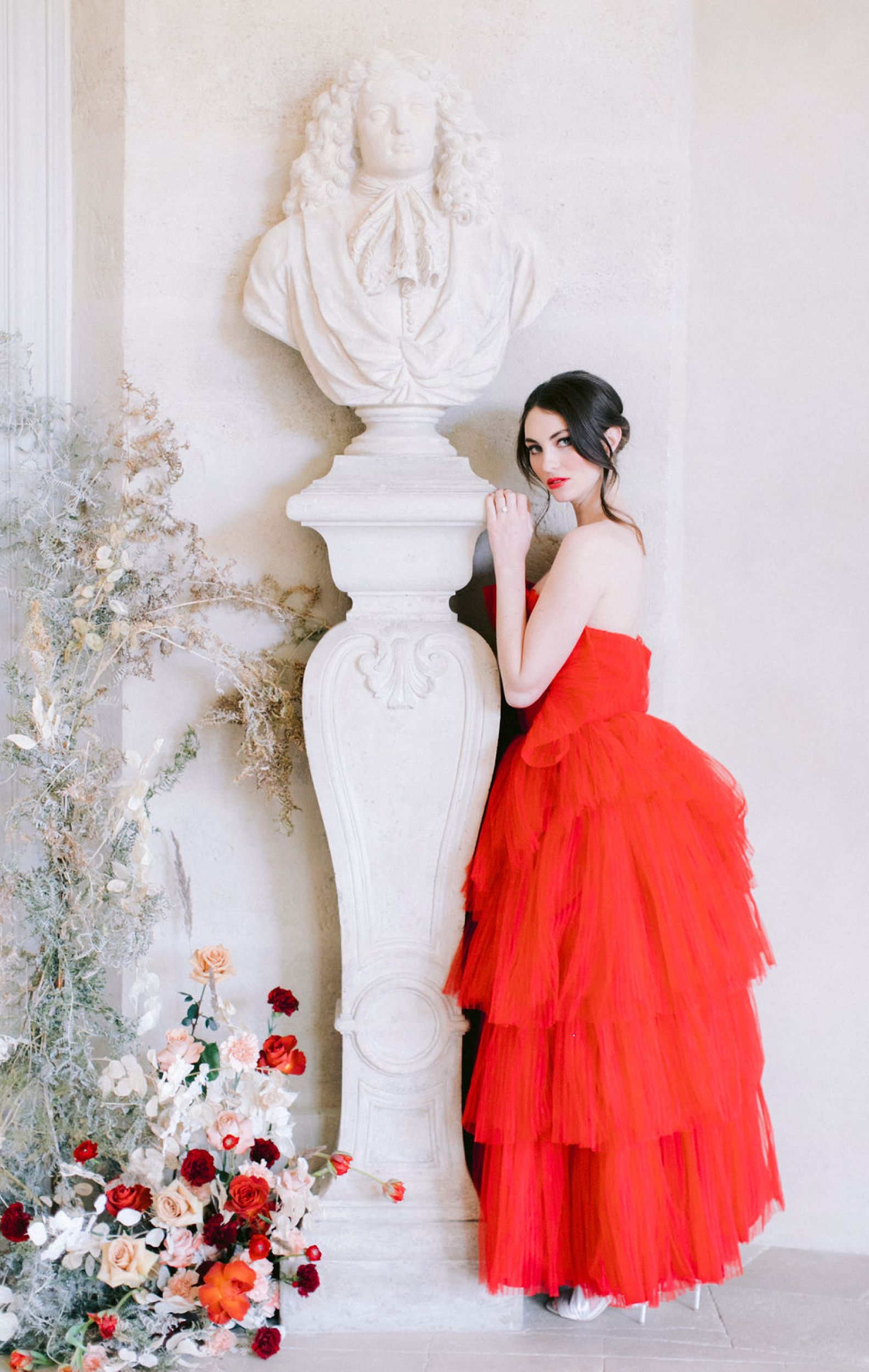 fine art bride red wedding dress
