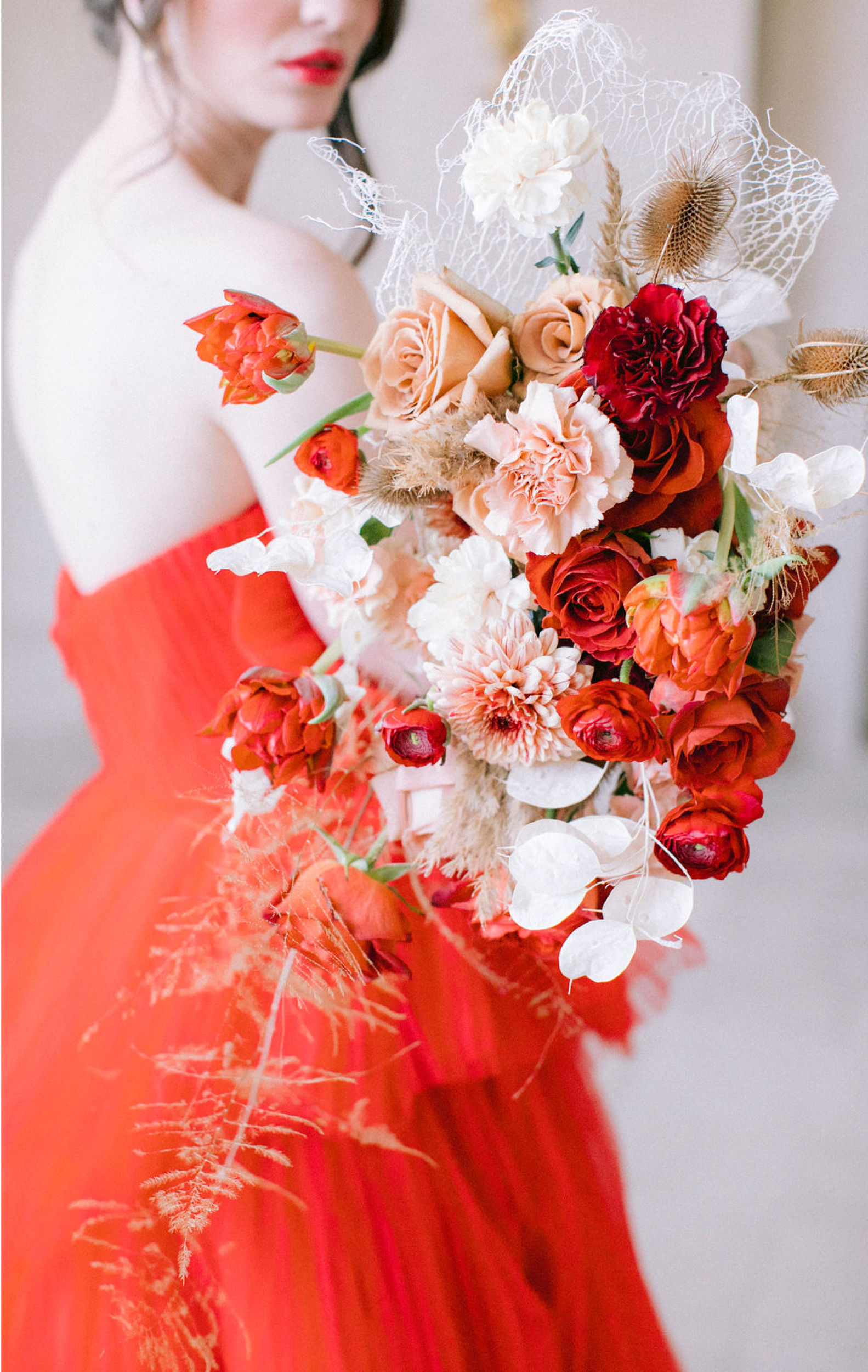 red wedding bouquet chateau de villette france