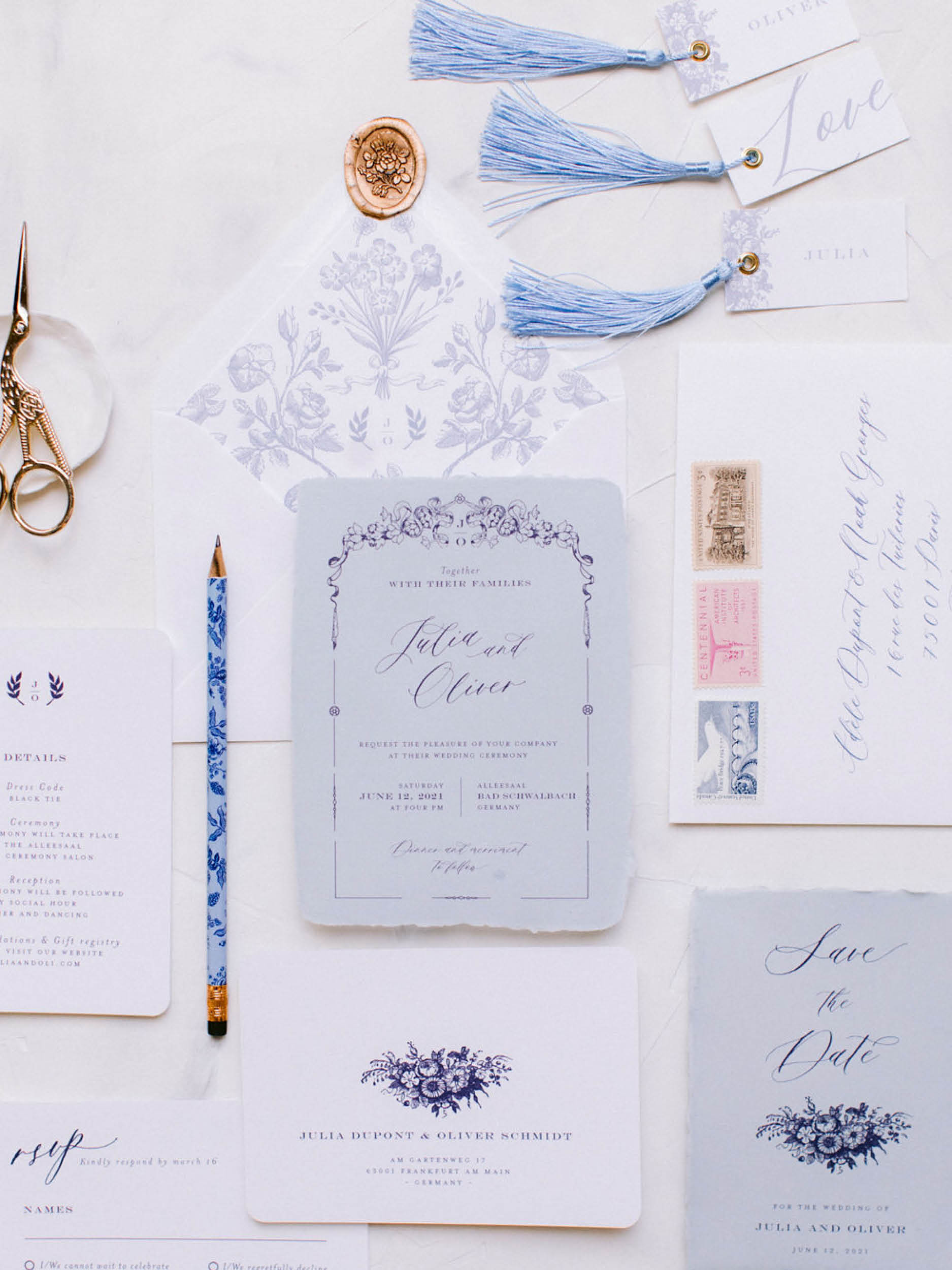 Something Blue Wedding with Toile de Jouy Details