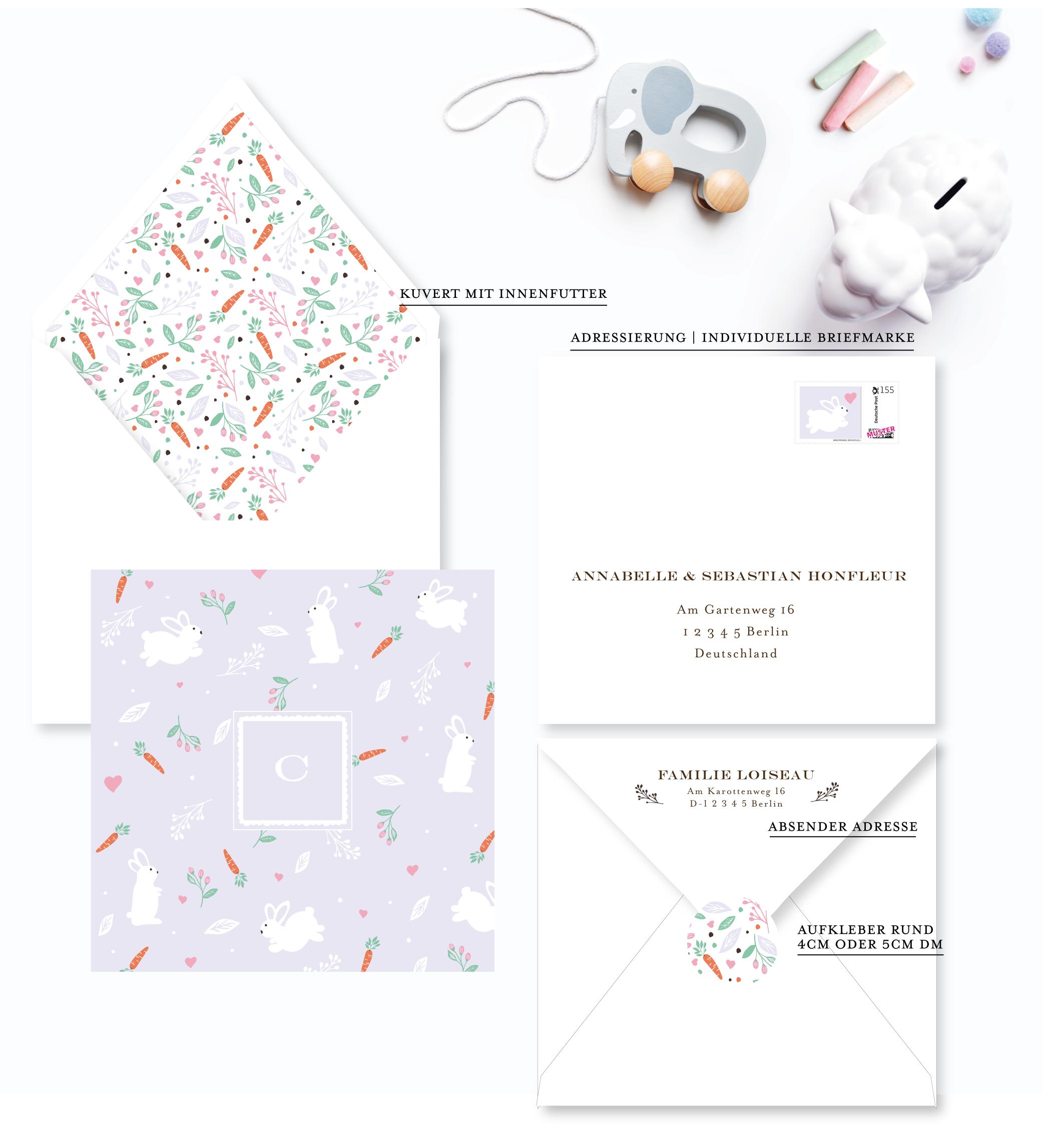 Babykarte lila Häschen für Mädchen