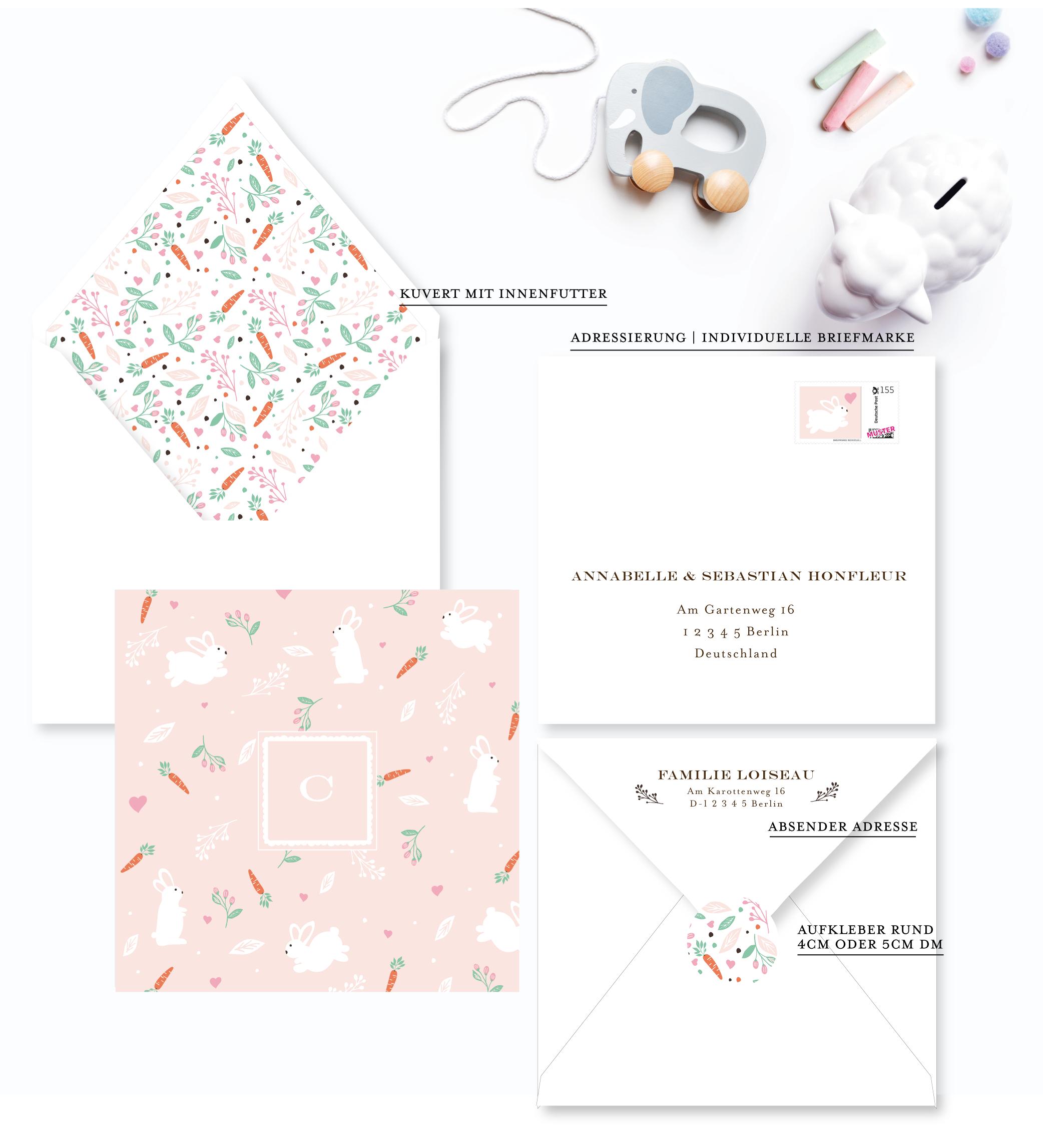 Häschen babykarte geburtskarte rosa blush