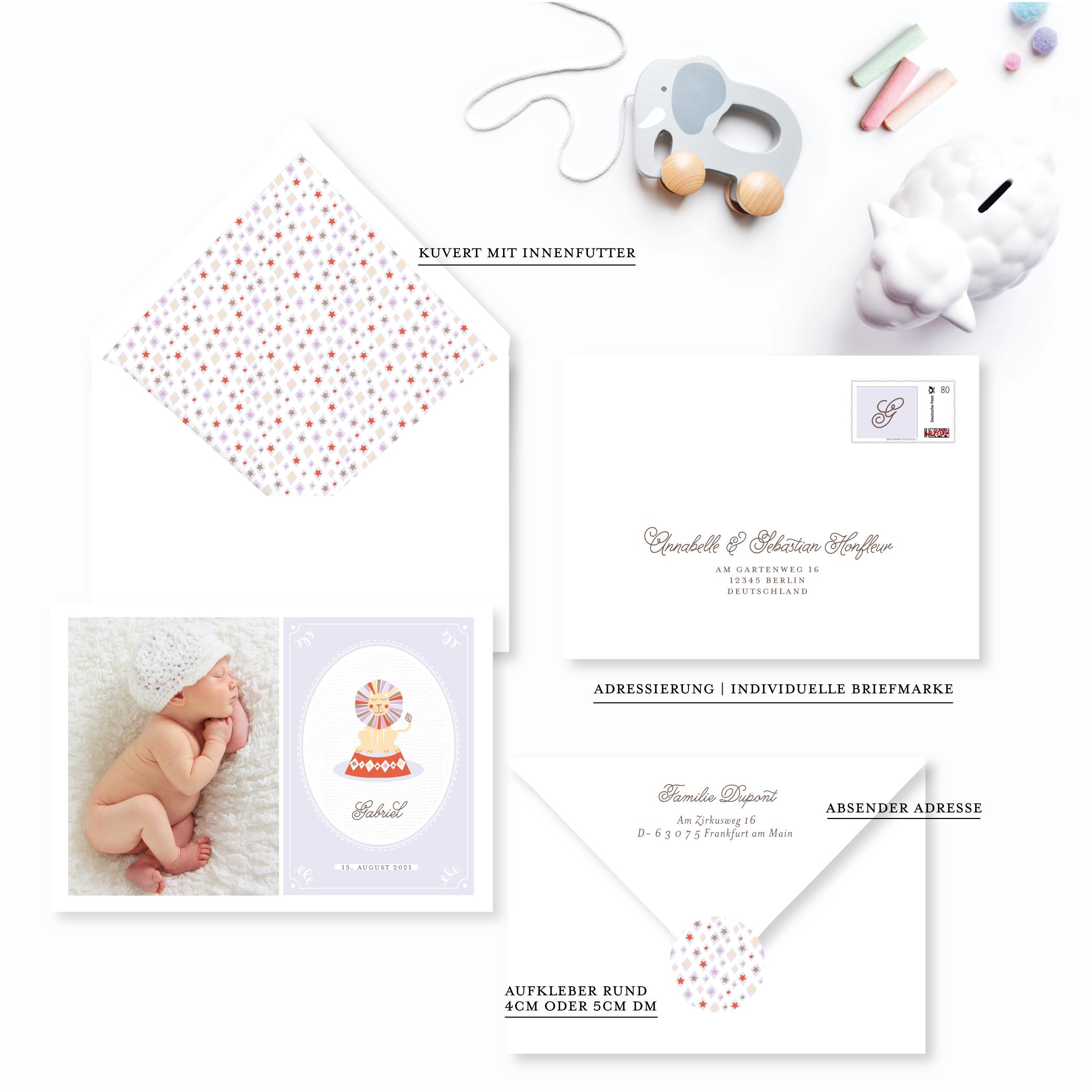 Papeterie zur Geburt junge Babykarte Löwe Zirkus Farbe Lila