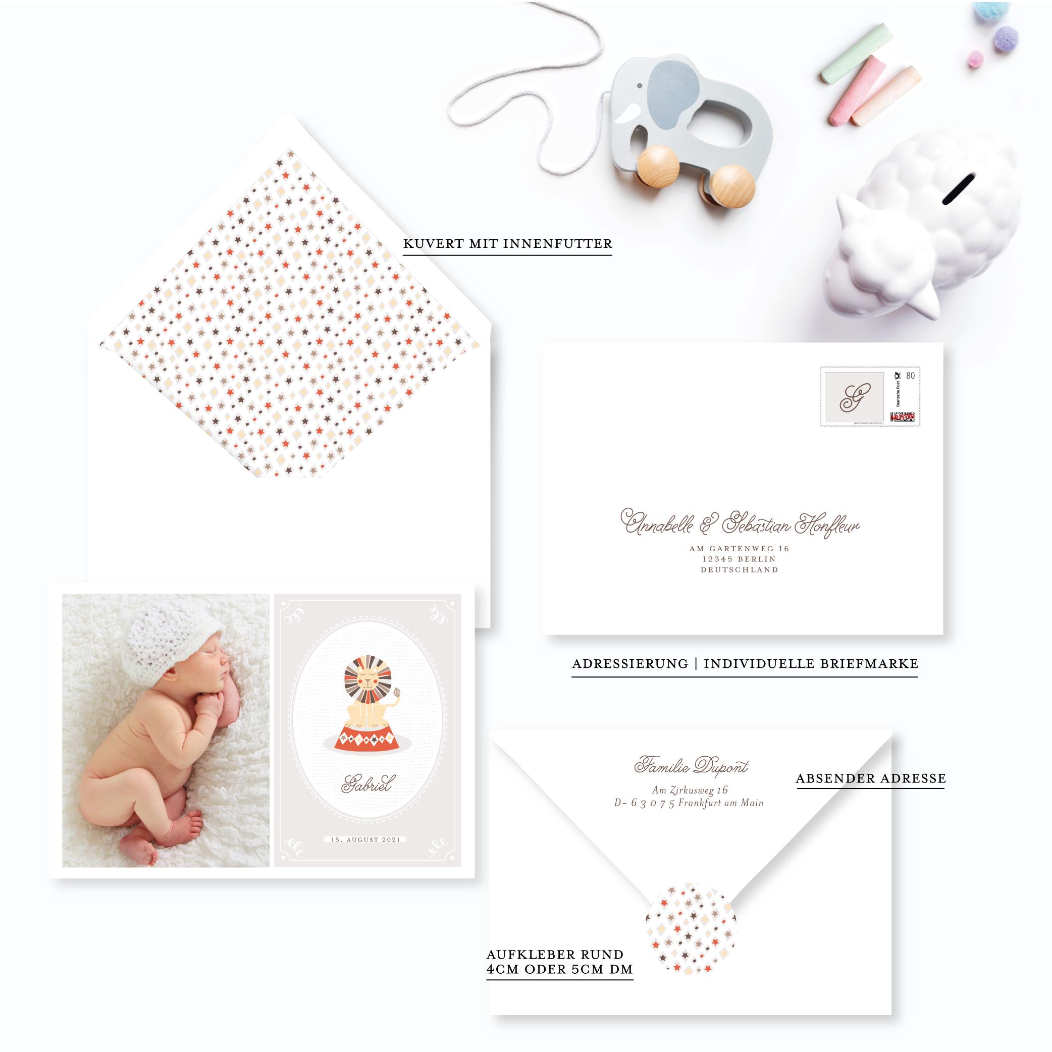 Papeterie zur Geburt junge Babykarte Löwe Zirkus Farbe Taupe