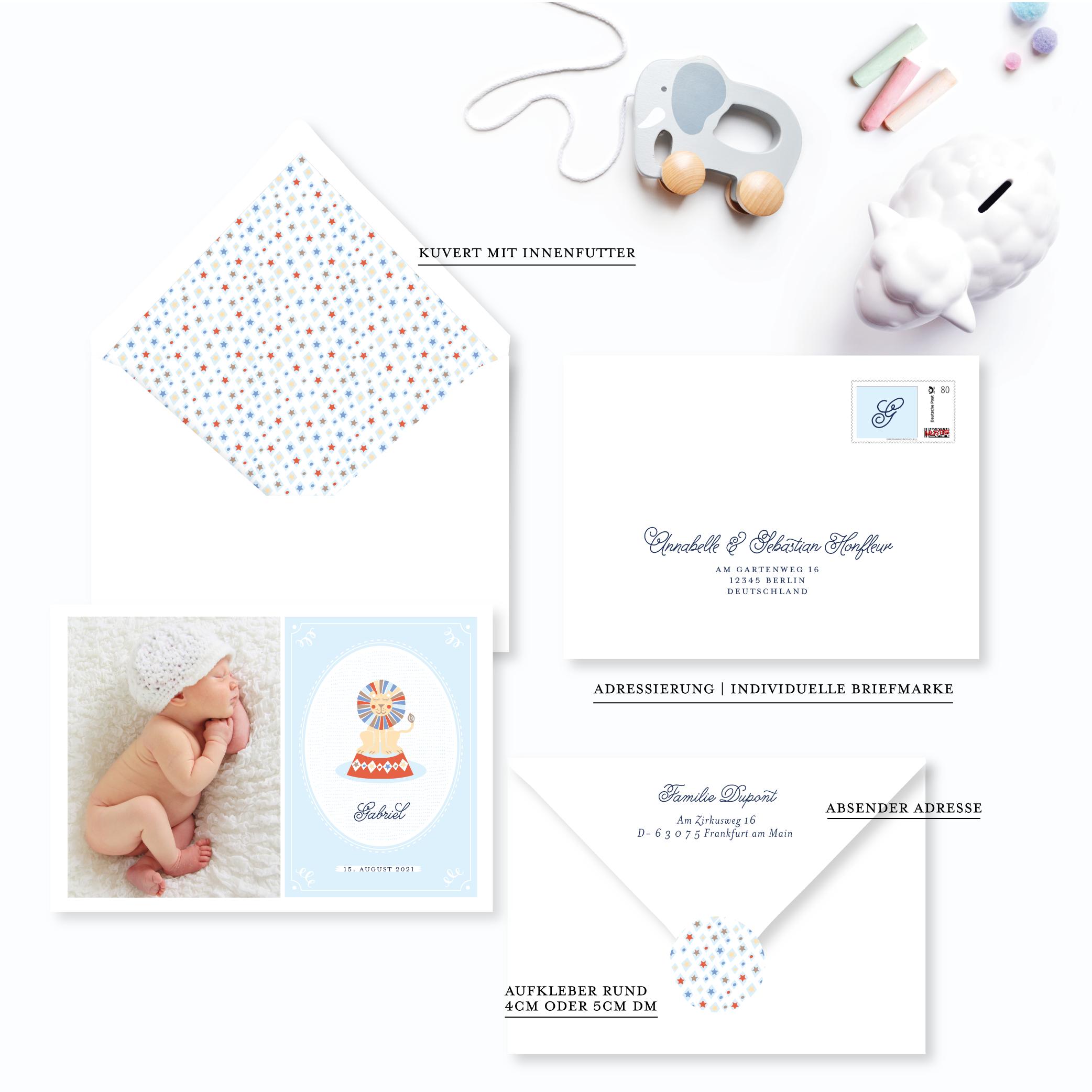 Papeterie zur Geburt junge Babykarte Löwe Zirkus Farbe Blau