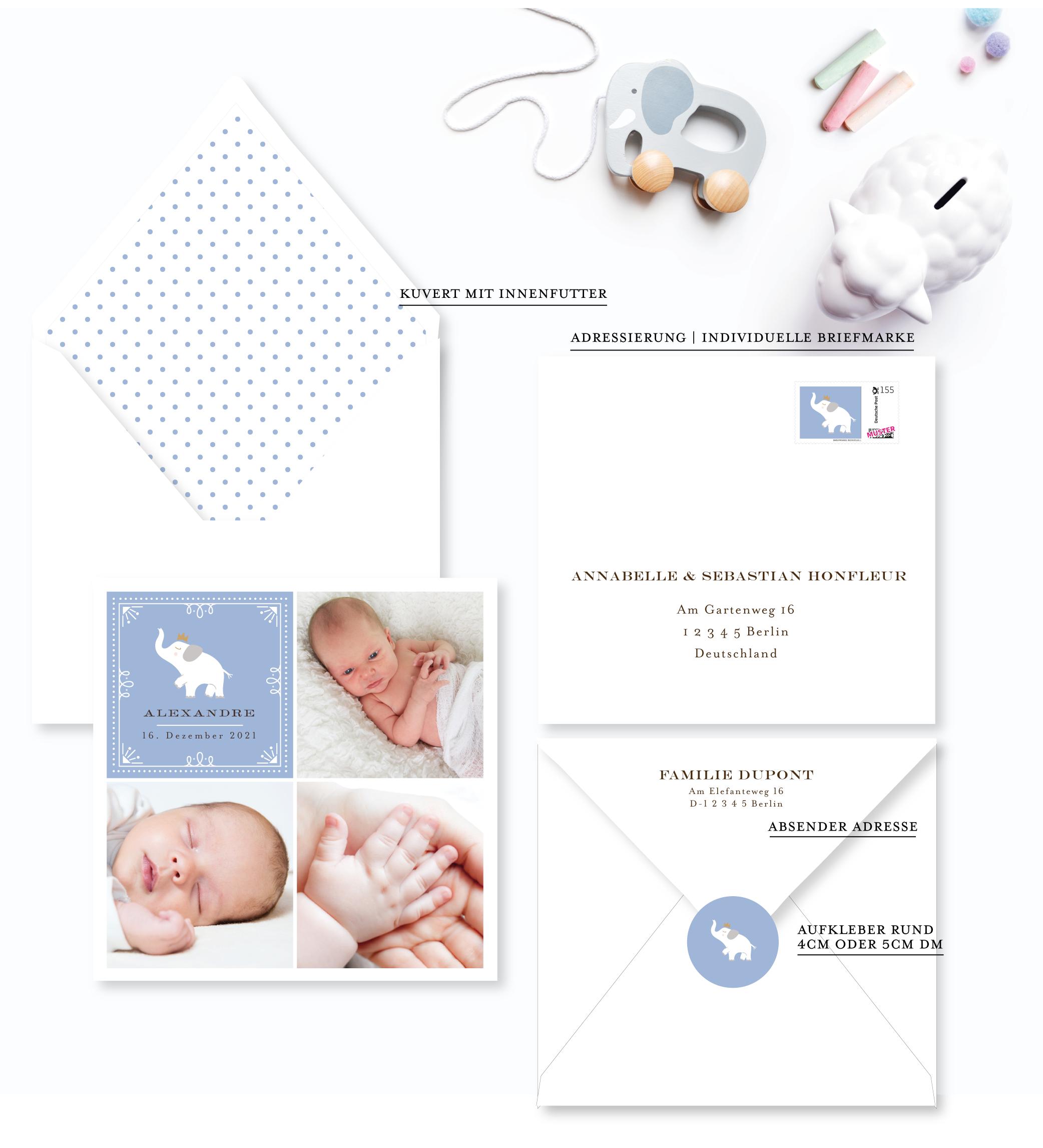 geburtskarte baby elefant für Junge farbe Blau