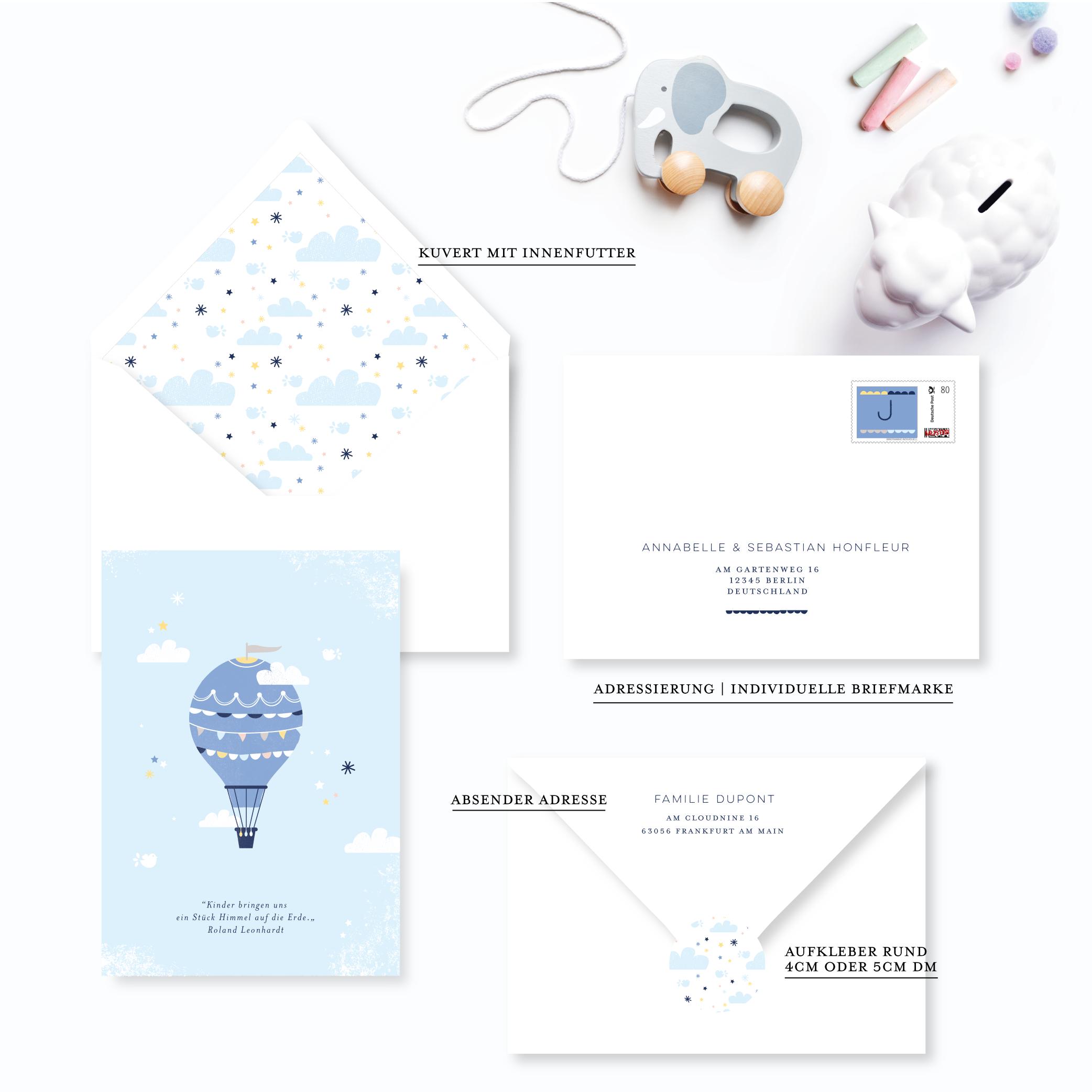 babykarte für junge heissluftballon montgolfiere in den wolken blau