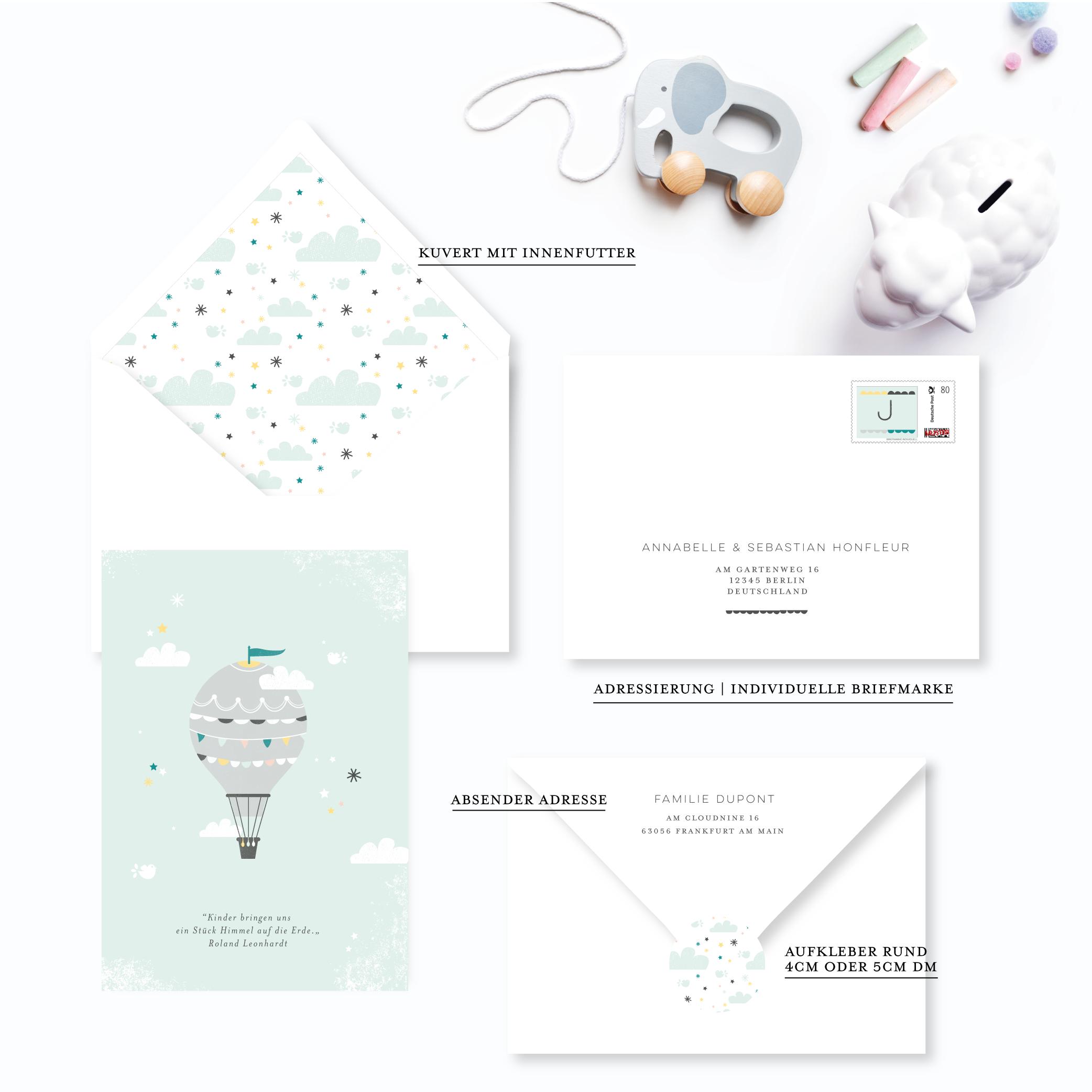 babykarte für junge heissluftballon montgolfiere in den wolken grün