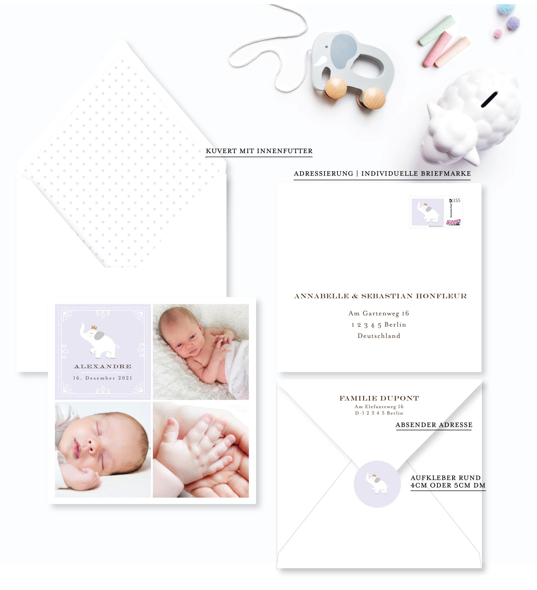 geburtskarte baby elefant für Junge farbe Lila