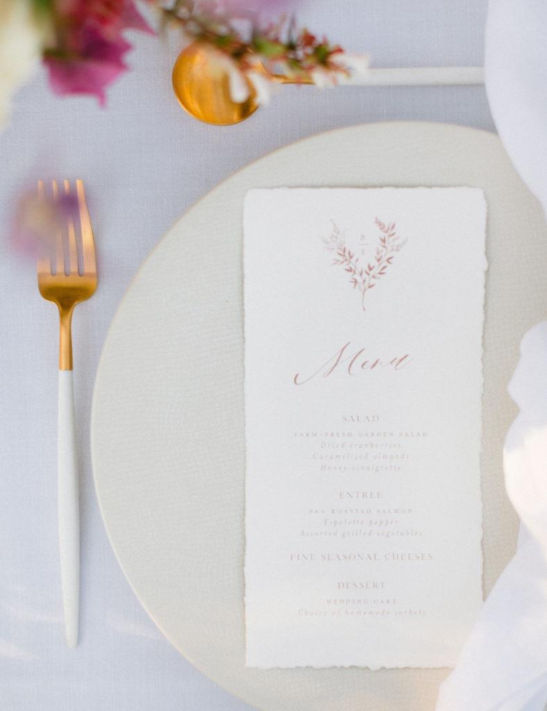 menu de mariage papier fait main