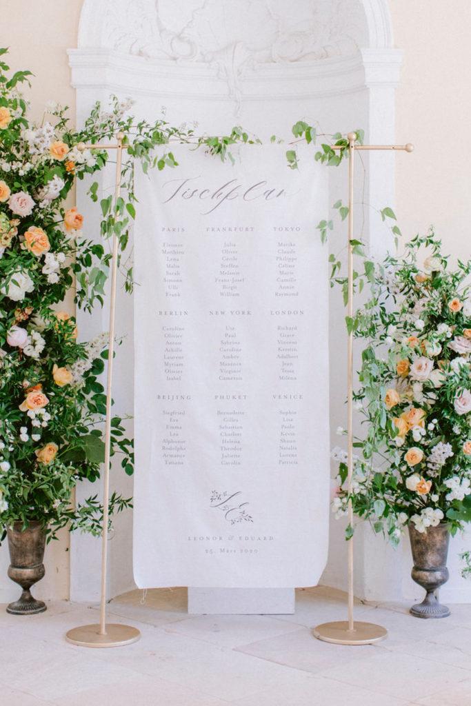 Sitzplan Hochzeit Leinenstoff