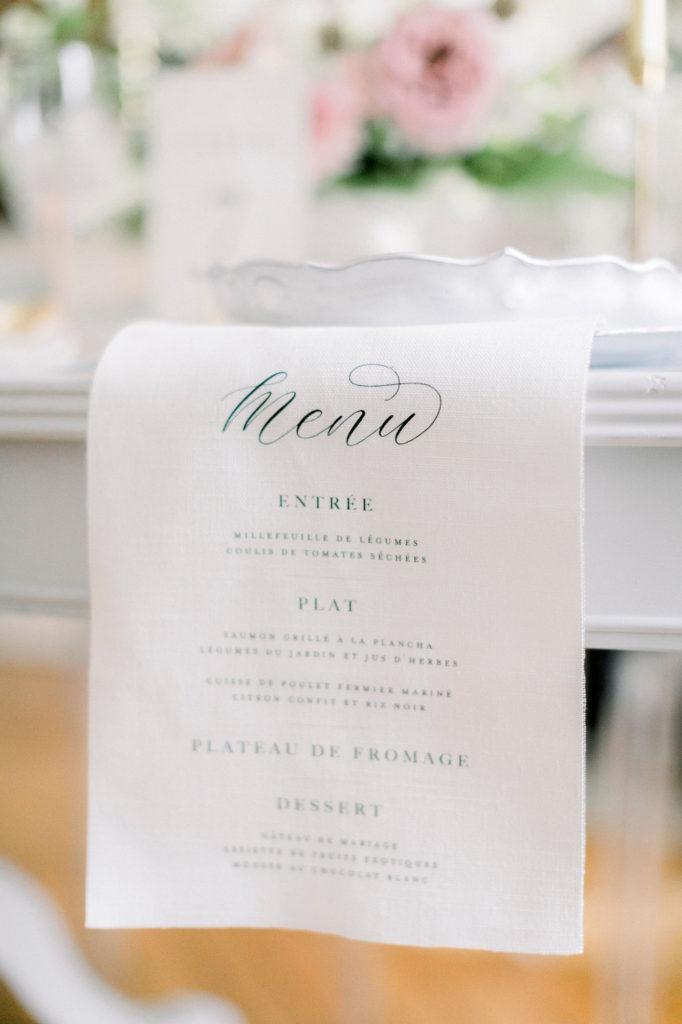 Menu Hochzeit Leinenstoff Bonjour Paper
