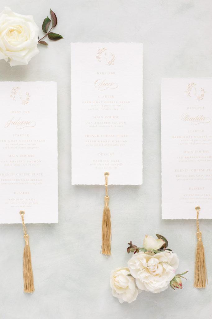 Menukarte mit Quasten Hochzeit