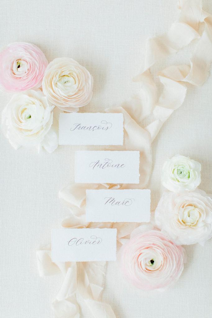 Platzkarten Hochzeit Kalligrafie