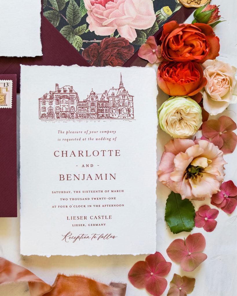 Hochzeitslocation skizze Schloss Lieser